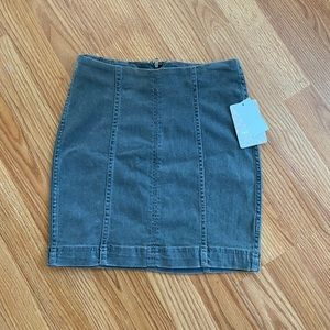 Free people gray denim mini skirt nwt